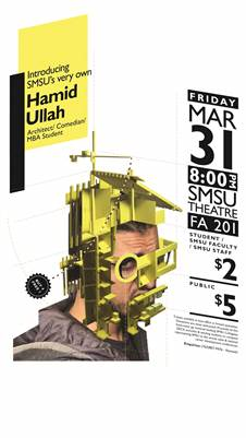 Fundraiser Standup Comedy Act by Hamid Ullah Mar 31 at SMSU Theatre, Marshall